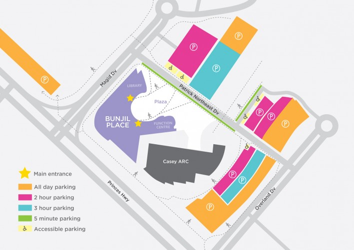 Bunjil Place Parking Map November 2018