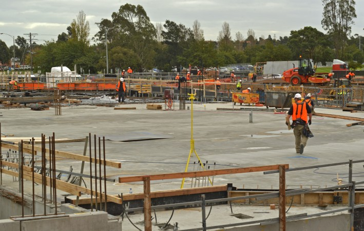 Concrete pouring of the slabs continues