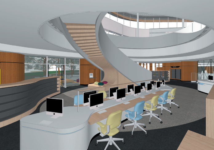 Architect's impression of one of the dedicated spaces inside the new library.