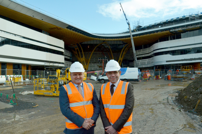Federal Member for La Trobe Jason Wood MP and City of Casey Mayor Cr Sam Aziz tour the Bunjil Place site to announce the opening date for the entertainment precinct