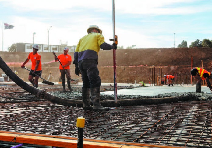 Action from the site: day two of the first concrete pour.